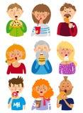 Ludzie jedzą fast food royalty ilustracja