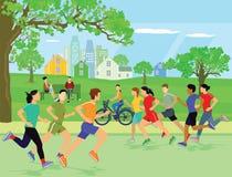 Ludzie jogging w parku ilustracja wektor
