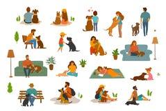 Ludzie kobiety, dorosli i dzieci z pies scenami ustawiać mężczyzna, royalty ilustracja