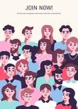 Ludzie komunikacyjnego pojęcia z męskimi i żeńskimi avatars Biznesu Drużynowy plakat royalty ilustracja