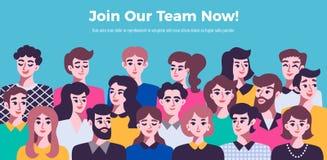Ludzie komunikacyjnego pojęcia z męskimi i żeńskimi avatars kobieciarz kawowa biznesowej megafonu zespołu royalty ilustracja