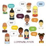 Ludzie komunikacyjnej wektorowej ilustraci Międzynarodowe język obcy komunikacje ilustracja wektor