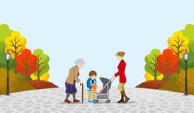 Ludzie komunikują w jesieni park-EPS10 royalty ilustracja