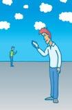 Ludzie komunikuje telefonem komórkowym ilustracja wektor