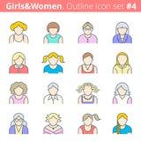 Ludzie kontur ikony ustalony -4 ilustracji
