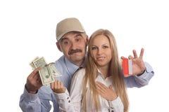 Ludzie, kredytowa karta i gotówka, zdjęcie royalty free