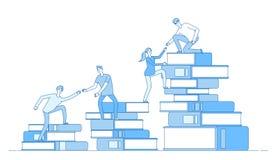 Ludzie książka stosu Ucznie wspina się książka biznesowego sukcesu edukacji pozioma personelu umiejętności rozwoju uczenie materi ilustracja wektor