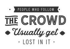 Ludzie które podążają tłumu zazwyczaj dostają przegranymi w mnie royalty ilustracja