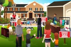 Ludzie ma garaż sprzedaż ilustracji