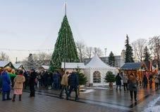 Ludzie ma zabawę na boże narodzenie rynku przy katedra kwadratem Vilnius Obraz Royalty Free