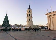 Ludzie ma zabawę na Vilnius bożych narodzeń rynku w katedra kwadracie Zdjęcie Stock