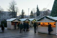 Ludzie ma zabawę w Vilnius bożych narodzeń katedry targowym kwadracie Obraz Royalty Free
