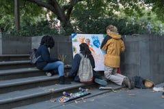 Ludzie maluje w ulicach Melbourne Fotografia Royalty Free
