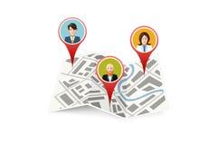 Ludzie na map gps lokaci ikonie odizolowywającej Fotografia Stock