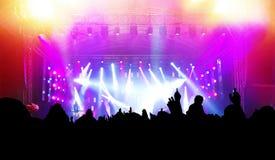 Ludzie na muzyka koncercie, dyskoteka Obrazy Stock