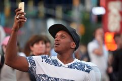 Ludzie na times square w Manhattan Obrazy Stock