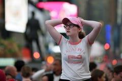 Ludzie na times square w Manhattan Zdjęcie Stock