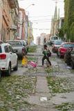 Ludzie na ulicach Valparaiso Zdjęcia Stock