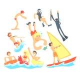 Ludzie Na wakacje Przy morzem Bawić się zabawę Z Wodnymi sportami Na plaży Ustawiającej ilustracje I Ma ilustracja wektor