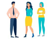 Ludzie odizolowywający na tle, mężczyźnie i dwa kobiecie białych, W minimalisty stylu kresk?wki mieszkania wektorze ilustracji