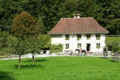Ludzie odwiedza na konia gospodarstwa rolnego starych domach w Ballenberg Obrazy Stock