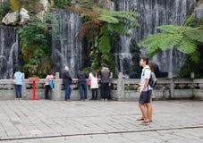 Ludzie odwiedzają zielenieją parka w Taipei, Tajwan Obraz Royalty Free