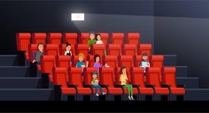 Ludzie ogląda film royalty ilustracja