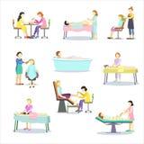 Ludzie oglądają ich pojawienie i przychodzą robić kosmetologii procedurom, robią ostrzyżeniu, pedicure'owi, manicure, etc, royalty ilustracja