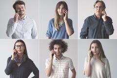 Ludzie opowiada na telefonie komórkowym zdjęcia royalty free