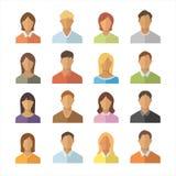 Ludzie Płaskich ikon ustawiać Mężczyźni i kobiety narodowości znaka różna kolekcja Anonimowa użytkownik ikona royalty ilustracja