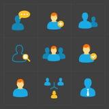 Ludzie płaskich ikon ustawiać na czerni Fotografia Stock