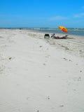 ludzie plażowi poniżej parasolkę obraz stock