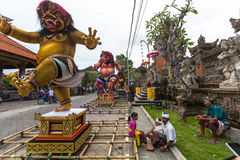 Ludzie podczas świętowania Nyepi - balijczyka cisza dzień Obrazy Royalty Free