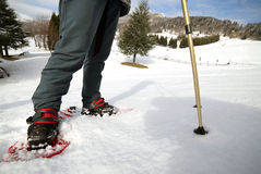 Ludzie podczas gdy snowshoeing w górach Zdjęcia Stock