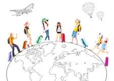 Ludzie podróżują dookoła świata i Globalny pojęcie Zdjęcie Royalty Free