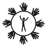 Ludzie powiązanie ikony, prosty styl ilustracji