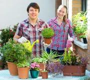 Ludzie prac z kwiatami Zdjęcia Royalty Free