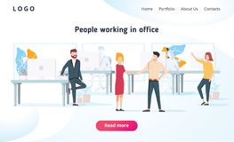 Ludzie pracują w biurze i oddziałają wzajemnie z przyrządami Biznes, obieg zarządzanie i biuro sytuacje, r ilustracja wektor