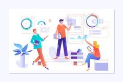 Ludzie pracują w drużynie i oddziałają wzajemnie z wykresami Biznes, obieg zarządzanie i biuro sytuacje, r ilustracji