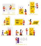 Ludzie pracuje w polu technologie informacyjne Set ve Fotografia Stock
