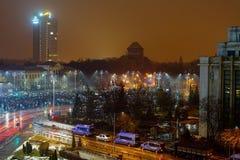 Ludzie protestuje w zwycięstwo kwadracie, Bucharest, Rumunia Fotografia Stock