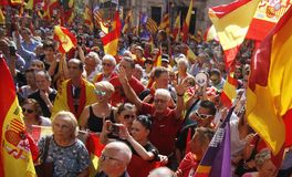 Ludzie przeciw Katalońskiemu referendum Fotografia Stock