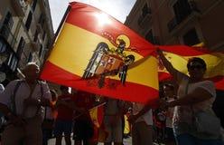 Ludzie przeciw Katalońskiemu referendum Fotografia Royalty Free