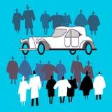 Ludzie przeglądają retro tłumu i samochód wokoło go royalty ilustracja