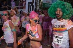 Ludzie przy kolorem Biegają wydarzenie w Mediolan, Włochy Obrazy Stock
