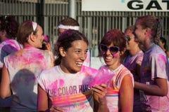 Ludzie przy kolorem Biegają wydarzenie w Mediolan, Włochy Fotografia Royalty Free