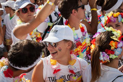 Ludzie przy kolorem Biegają wydarzenie w Mediolan, Włochy Obraz Royalty Free