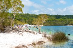 Ludzie przy plażą przy Jeziornym McKenzie, jeden popularny słodkowodny jezioro przy Fraser wyspą, Australia obrazy stock
