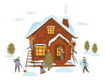 Ludzie przygotowywa dla bożego narodzenia świętowania, dekoruje dom, drzewa, wejściowy drzwi, jard z gwiazdy xmas zaświecają girl ilustracja wektor