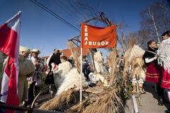 Ludzie przygotowywają karnawałowego 'Busojaras' karnawał zima pogrzeb Obrazy Stock